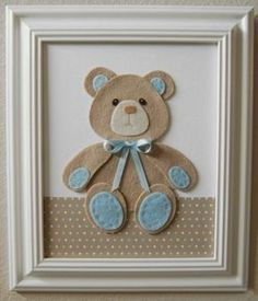 Teddy with felt Baby Crafts, Felt Crafts, Fabric Crafts, Diy And Crafts, Paper Crafts, Craft Projects, Projects To Try, Baby Boy Rooms, Baby Kind