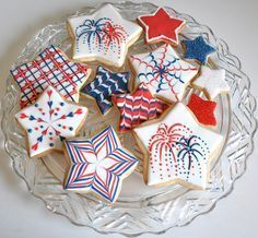of July (USA Independence Day) Cookies by Kelley Hart Custom Cookies (cookie decorating party shape) Star Cookies, Fancy Cookies, Iced Cookies, Cut Out Cookies, Cute Cookies, Royal Icing Cookies, Cupcake Cookies, Cookies Et Biscuits, Cupcakes