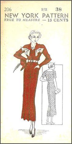 1930s Dress with Jabot Sewing Pattern - New York Pattern #206