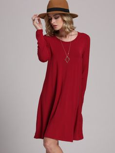 Shop Burgundy Long Sleeve Casual Babydoll Dress at ROMWE, discover more fashion styles online. Tee Dress, Babydoll Dress, Fashion Week, Party Fashion, Fashion Fashion, Fashion Shoes, Fashion Design, Fashion Clothes, Fashion Dresses