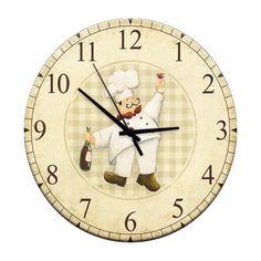 a032866904c Relógio de Parede Chef Vinho em Madeira MDF - 28 cm