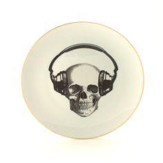 Altered Music Skull Vintage Plate 7.67 Porcelain
