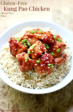 Gluten-Free Kung Pao Chicken (Paleo, Allergy-Free)   Strength and Sunshine @RebeccaGF666 Delicious and easy, this Gluten-Free Kung Pao Chicken is a healthier version of the classic Chinese takeout you can make at home! A recipe that's paleo, top 8 allergy-free, and with all the flavors and spice you love!