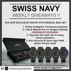 Ikutan yuk GA nya with ・・・ Hi sahabat Swiss Navy, jangan lewatkan Event Giveaway kam Follow Insta, Shandy, Fish Farming, Elegant Watches, Fashion Watches, Chronograph, Apple Watch, Navy, Instagram Posts