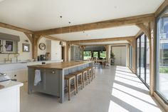 Since 1980 Border Oak have specialised in the design and construction of exceptional bespoke oak framed buildings across the UK and abroad Open Plan Kitchen Living Room, Barn Kitchen, Home Decor Kitchen, Country Kitchen, Home Kitchens, Barn Conversion Interiors, Barn Conversion Kitchen, Küchen Design, House Design