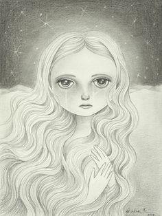Gothic Art Original Pencil Drawing Fantasy Art by TheWishForest, $70.00