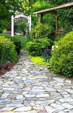 Rustic Natural Stone    Create a more rustic garden walkway by combining different shapes and colors of flagstone into a richly patterned mosaic. You can approach the project as you would a puzzle; choose stones for fit and coloration. Unlike other stone installations, this one requires no cutting equipment or special tools—just an artistic eye.  bobvila