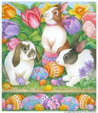 Easter Bunnies and Tulips by Lorraine Ryan, www.cciart.com