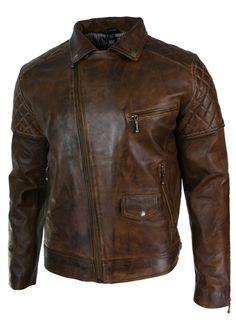 9d031b29765712 Details about Mens Leather Jacket Biker RETRO Cafe Racer Vintage Motorcycle  Distressed Brown