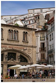Cafe Santa Cruz and up by Gurugo,Coimbra, Visit Portugal, Spain And Portugal, Portugal Travel, Spain Travel, Portugal Vacation, Coffee Shops, The Beautiful Country, Beautiful Places, Coimbra Portugal