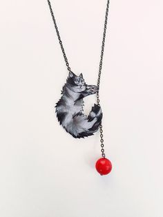 Sleeping Cat Necklace with Red Coral Bead  Black by LavanitaDesign