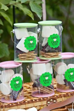 This would be cute for a backyard sleepover (child's birthday), camping themed party Camping Party Favors, Camping Parties, Camping Theme, Camping Outdoors, Family Camping, Camping Ideas, First Birthday Parties, First Birthdays, Bonfire Birthday