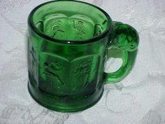 Heisey Emerald Green Storybook Mug