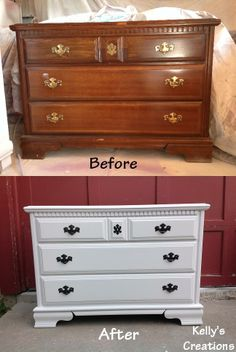 Simple wooden dresser painted whitebefore and after pictures. Refinished by Kelly's Creations. https://www.facebook.com/pages/Kellys-Creations-Refinished-Furniture/524028237619793