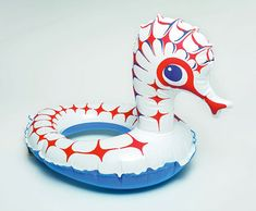 Inflatable vinyl Seahorse wearable pool toy, Czechoslovakia, date unknown, by Libuše Niklová.