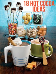 Creative Hot Chocolate Mix-Ins - love this for a holiday dessert buffet Hot Chocolate Party, Cocoa Party, Hot Chocolate Mix, Chocolate Dipped, Chocolate Bars, Holiday Treats, Christmas Treats, Holiday Recipes, Christmas Stuff