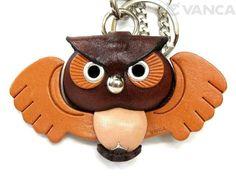 Owl Handmade Leather Owl/Animal Keychain Bag Charm
