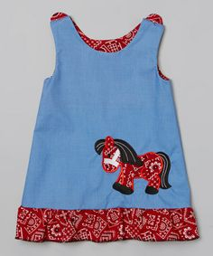 Another great find on #zulily! Blue & Red Bandanna Pony Shift Dress - Infant, Toddler & Girls by Bizzy Bumpkins #zulilyfinds