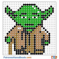 Star Wars-Yoda plantilla hama bead. Descarga una amplia gama de patrones en formato PDF en www.patroneshamabeads.com