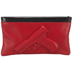 VLIEGER & VANDAM 'Guardian Angel' clutch ($635) ❤ liked on Polyvore featuring bags, handbags, clutches, purses, red leather purse, red crocodile handbag, crocodile leather handbags, red leather handbag and red purse