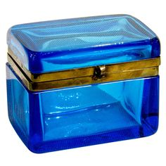 Azure Blue Glass Box : blue thick walled glass box with gilt brass frame. Napoleon III France c1880