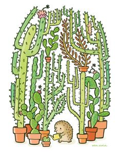 Quilliam Pincraft es un erizo común que cultiva cactus para ganarse la vida. ¿… Quilliam Pincraft is a common hedgehog who grows cactus to make a living. Maybe you have some growing at home so that Quilliam attend? Illustration Cactus, Children's Book Illustration, Cactus Drawing, Cactus Art, Tumblr Sticker, Painting & Drawing, Cactus Stickers, Cactus Y Suculentas, Character Design