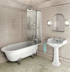 A Glass Half Wall May Be An Idea For Our Bathroom Reno This Is - Clawfoot tub with shower surround