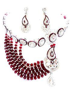 Unique Trendy Imitation Crystal Rajwadi Necklace Set Jewelry / AZINRJ501-SRD Arras Creations http://www.amazon.com/dp/B00TKTKF52/ref=cm_sw_r_pi_dp_wDm6ub1EKS7M5