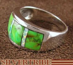 Sterling Silver Mojave Turquoise And Opal Inlay Ring Size 7-3/4 NS36628