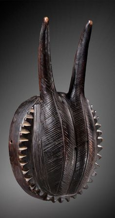 Africa | Headdress from the Yaure people of the Ivory Coast | Wood, deep reddish brown patina