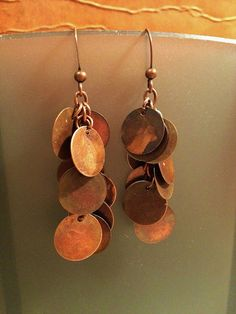 Copper Disc Dangle Earrings