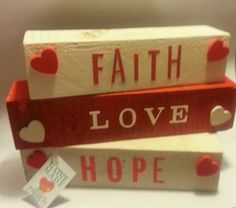 Rustic Reclaimed HopeLoveFaith blocks by Ntoys on Etsy, $22.99 #maineteam