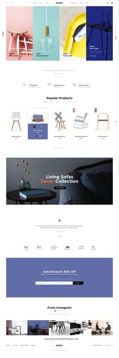 HEBES is clean, stylish and modern design PSD template for sunning interior, decor, furniture shop eCommerce website with 16 niche homepage layouts and 78 layered PSD pages to live preview & download click on Visit  #websitedesign #psdmockups