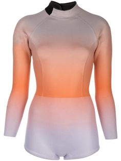 Lilac and orange Sea ombre wetsuit from Cynthia Rowley featuring a tonal gradient effect, a fitted silhouette, long sleeves and a back zip fastening. Future Clothes, Cynthia Rowley, Fit And Flare Wedding Dress, Athleisure Outfits, Adidas Outfit, Festival Looks, Teenager Outfits, Size Clothing, Wetsuit