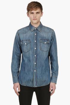 MAISON MARTIN MARGIELA Blue Denim Contrast Snap-Stud Shirt
