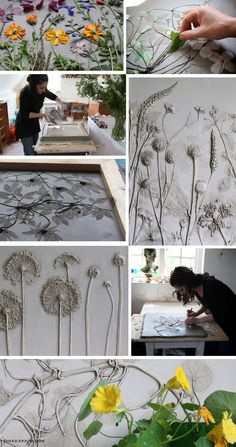 Rachel Dein's method of plaster casting captures flowers and foliage in a unique and delicate way. She creates her original casts by making an impression in wet clay and then pouring plaster directly over it. The clay captures the most intricate details, subtly accenting the plaster as it sets.
