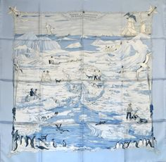 "Antarctica~ RARE! Hermes Scarf ""SHACKLETON"" Pauwels ~ Blue~Penguins~Birds 