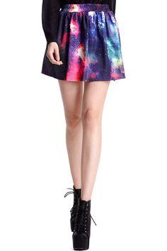 #ROMWE ROMWE | Colorful Clouds Print Elastic Skirt, The Latest Street Fashion