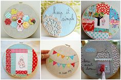 Mini quilts and happy hoop-ed designs for wall decor.