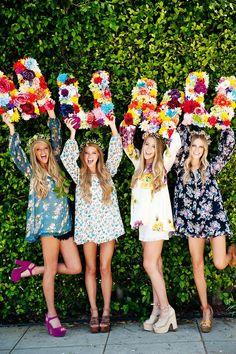 Flower Power ~ Secret Surprise Summer 2014 Flower Power ~ S Hippie Party, Retro Party, 70s Party, Sweet 16 Parties, Grad Parties, Flower Power Party, Red To Blonde, Blonde Hair, Retro Stil