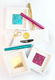 Easy Foiled Negative Wall Art with the Minc Foil Applicator Diy Craft Projects, Fun Crafts, Diy And Crafts, Paper Crafts, Craft Ideas, Craft Foil, Stampin Up, Simple Artwork, Deco Foil