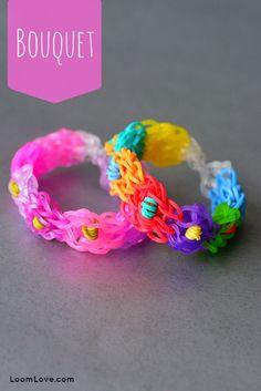 Summer Kids Craft Ideas | Flower Stretch Band Bracelet | Learn how to make a bouquet rainbow loom bracelet tutorial by @loomlove