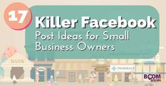Stuck on ideas for your next Facebook post? Check out this helpful post for Small Business Owners from Boom Social with Kim Garst!  17 Killer Facebook Post Ideas For Small Business Owners: http://kimgarst.com/17-killer-facebook-post-ideas-for-small-business-owners via Social Media Examiner.  #socialmedia #Facebook #smallbusiness