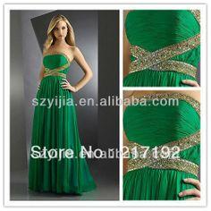 Emerald Green Prom Dresses | Stapless Heavy Beaded Emerald Green Prom. If I ever go...