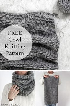 Feb 2020 - Grab this slightly over-sized FREE cowl knitting pattern. This is a beginner cowl knitting pattern that's knit flat and easy to adjust for any yarn type. No purling required! Beginners Knitting Kit, Beginner Knitting Projects, Easy Knitting Patterns, Knitting Kits, Free Knitting, Crochet Patterns, Start Knitting, Knitting Machine, Knit Scarves Patterns Free