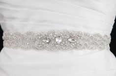 Crystal beaded bridal sash by GlamHouse on Etsy, $155.00