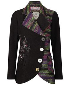 Joe Browns A Winter's Tale Jacquard Jacket - eclectic mix of fabric and buttons for a unique jacket! Moda Retro, Plus Size Outerwear, Altered Couture, Altering Clothes, Quilted Jacket, Mode Inspiration, Sewing Clothes, Types Of Sleeves, Blazers