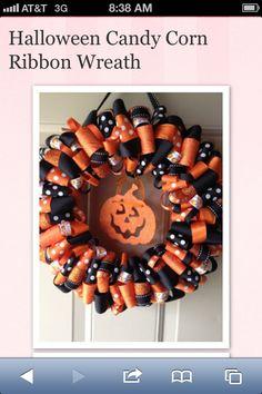 Halloween ribbon wreath.