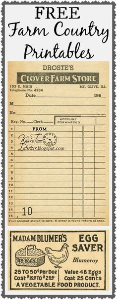 Antique Graphics Wednesday – Farm Store Receipt & Egg Saver Advertisement FREE Farm Country Printables ~~~from Knick of Time @ Vintage Labels, Vintage Ephemera, Vintage Paper, Printable Labels, Printable Paper, Free Printables, Labels Free, Printable Vintage, Etiquette Vintage