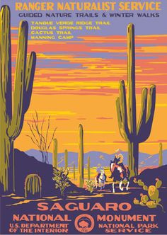 Saguaro National Park WPA Travel Poster: Keen-eyed observers and national park fanatics may look at this poster and say, Hey, Saguaro was made a natio Monument National Park, National Parks Usa, Wpa Posters, Poster S, Retro Posters, Print Poster, Poster Wall, Movie Posters, Vintage National Park Posters